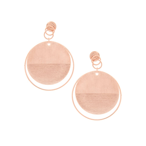 Rose Gold Contrasting Texture Circle Dangles