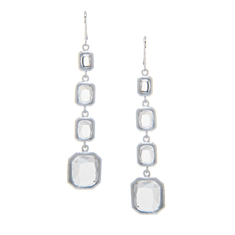Rhodium Rock Crystal Multi Drop Earrings