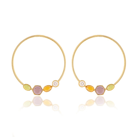 Multi Gem Open Hoop Earrings