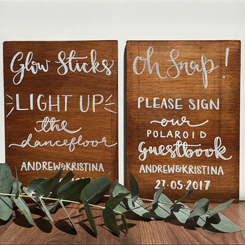 Bespoke Hand Painted Wooden Wedding Sign