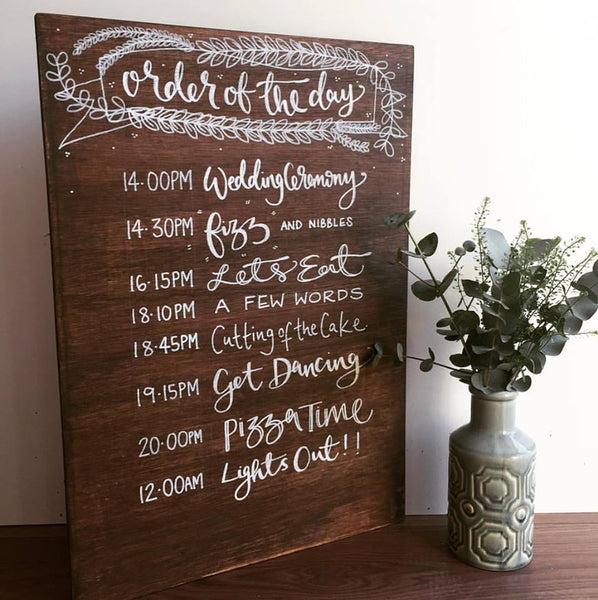 Wooden Personalised Order Of The Day Sign