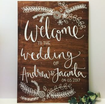 wooden welcome signs wedding