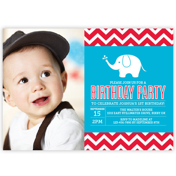 Chevron Elephant Birthday Invitation