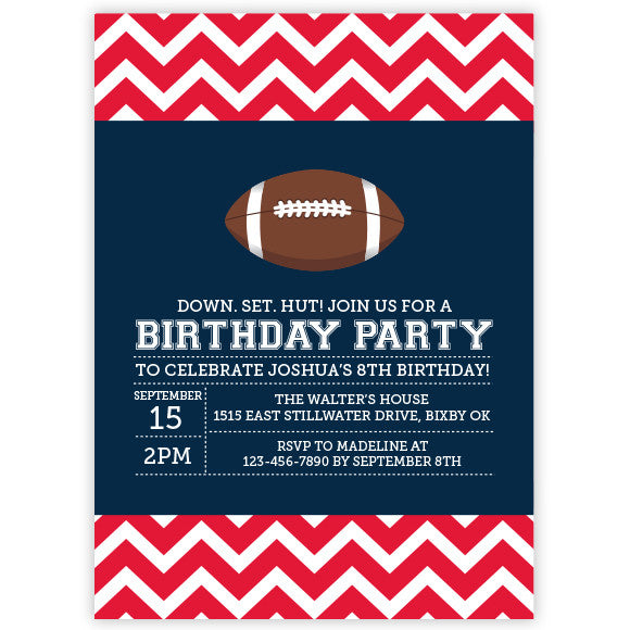 Chevron Football Invitation