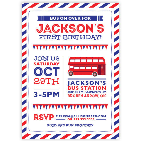 Double Decker Bus Birthday Invitation