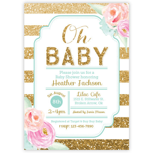 Floral Gold Glitter Baby Shower Invitation