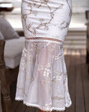 Ciara Dress - White Floral Embroidery