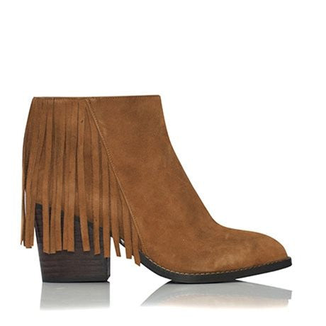 Gail Fringe Tan Suede Ankle Boots by Billini