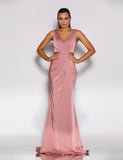 Giana Drape Gown by Jadore - Antique Pink