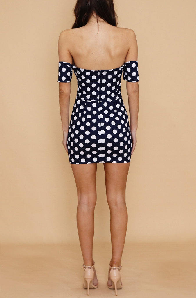Noah Dress - Dark Navy Polka Dot