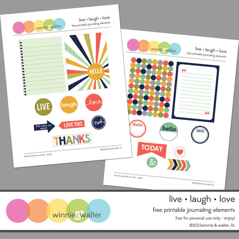 Live Laugh Love Printable Journaling Elements