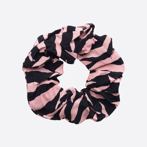 Ganni Lindale Crepe Scrunchie in Black Zebra