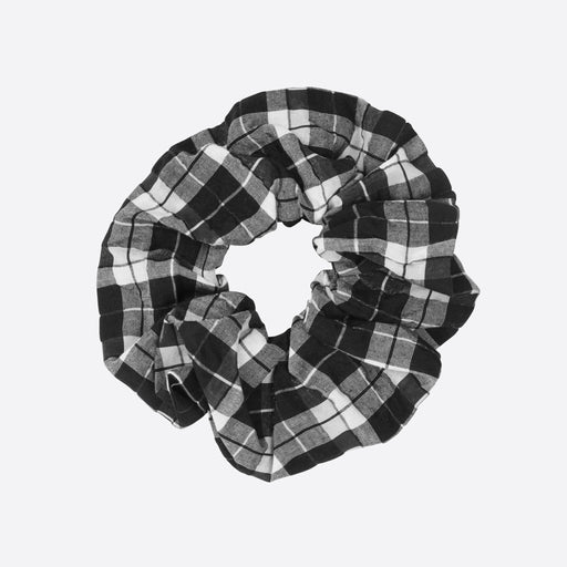 Ganni Charron Seersucker Scrunchie in Black