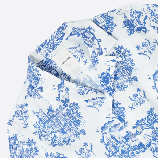 Wood Wood Tourist Print Brandon Shirt in White