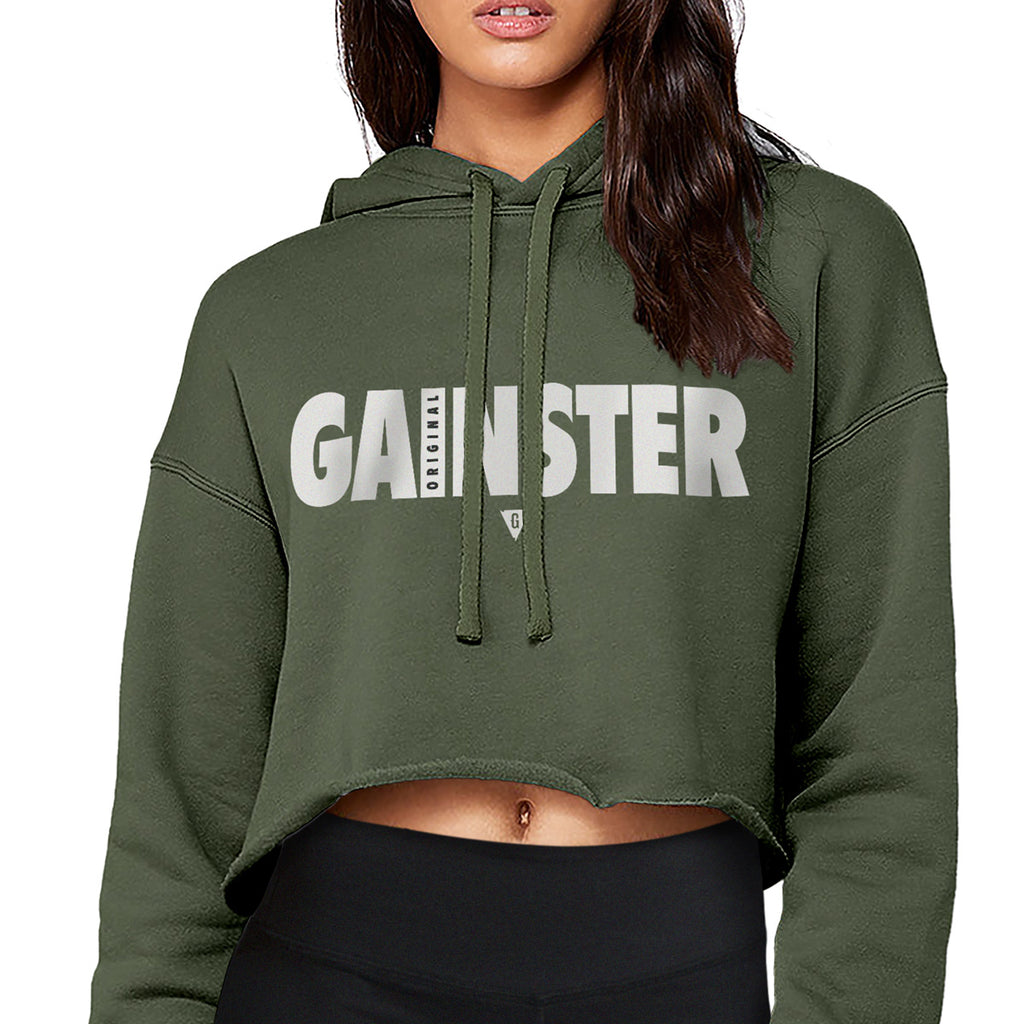 Women's Original GAINSTER Flowy Crop Hood - Army Green with White and Black Print