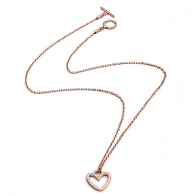 18ct Rose Gold Vermeil Silhouette Heart Charm  Stacking Pendant Necklace