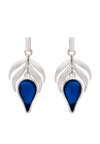 Dazzling Sterling Silver Blue  Stone Flame  Fire Charm Earrings