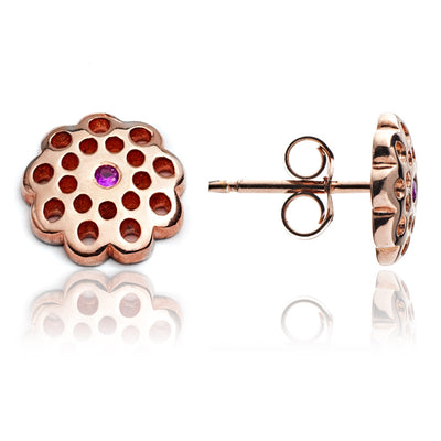 18ct Rose Gold Vermeil Filigree  Floral Paisley Stud Earrings with Rubies