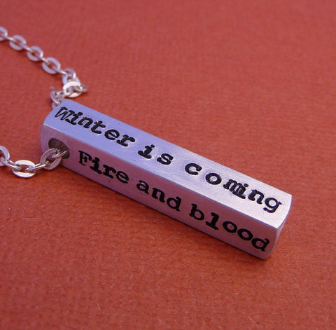 Game of Thrones Inspired - House Words - A Hand Stamped Aluminum Bar Necklace