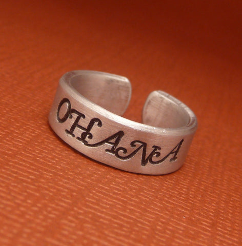 Lilo and Stitch Inspired - Ohana - A Hand Stamped Aluminum Ring