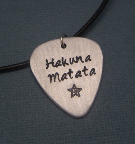 Lion King Inspired - Hakuna Matata - Hand Stamped Aluminum Pick Necklace