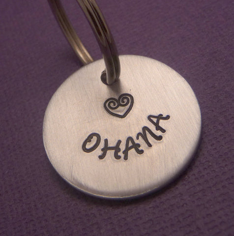 Lilo and Stitch Inspired - Ohana - A Hand Stamped Disc Keychain