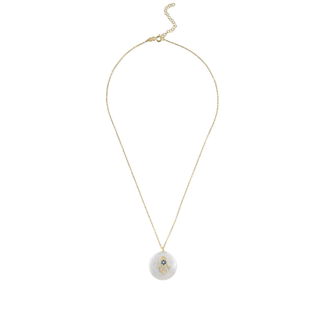 Pearl and Hamsa Necklace Gold