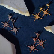 Large Star burst Drop Earring Gold