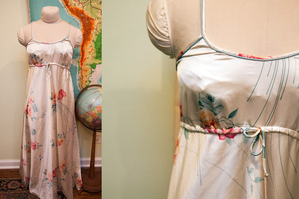Vintage 70s Christian Dior Ivory Floral Nightgown // Beach Dress // Size Small - M - Old New House