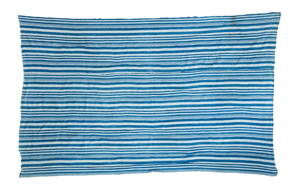 4x6.5 Indigo Blue Striped Textile - Old New House
