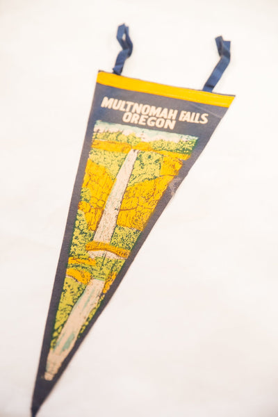 Multnomah Falls, Oregon Vintage Felt Flag