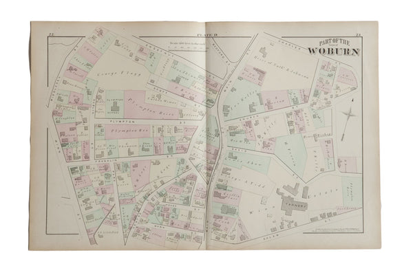 Antique Woburn Massachusetts Atlas Map Plate D