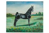 Vintage Folk Art Black Horse Painting / ONH Item 7004