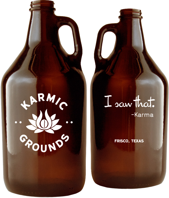 Karmic Grounds beer growlers