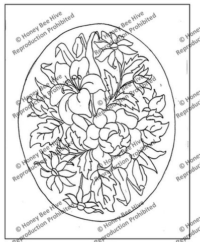 P663: Tri-Floral Oval, Offered by Honey Bee Hive