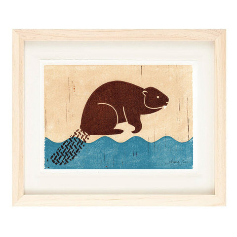 BEAVER HAND-CARVED LINOCUT ILLUSTRATION ART PRINT BY ANNA SEE