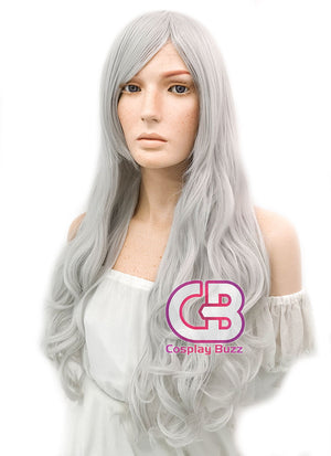 Long Wavy Silver White Cosplay Wig WIG145 - CosplayBuzz