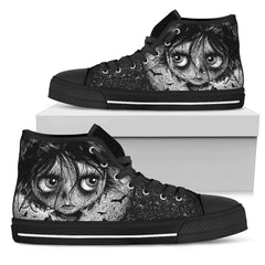 View Image of Bat Moon Rising Women's High Top Canvas Shoe