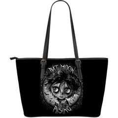 View Image of Bat Moon Rising Large Leather Tote Bag