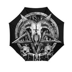 Another view of Brutal Baphomet Umbrella - White