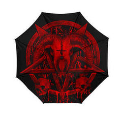 Another view of Brutal Baphomet Umbrella - Red