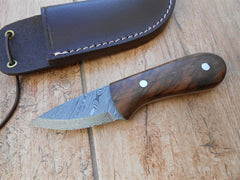 SALE NOW ON - Hand crafted Damascus neck knife - Walnut burl handle - perfect for camping and bushcraft. Stunning! Custom made!