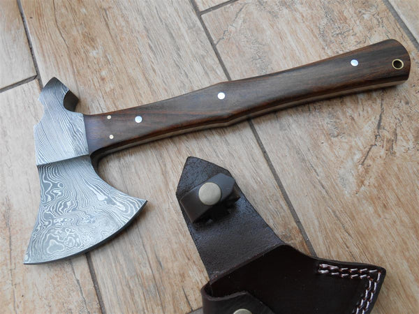 Damascus Tomahawk with walnut handle - full tang - super sharp - stunning