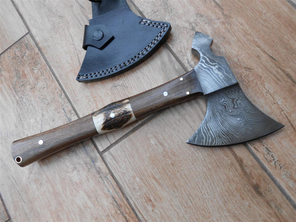 BARGAIN! Tomahawk style Camping and Bushcraft Axe - hand forged Damascus steel - Stag antler walnut handle. REDUCED!