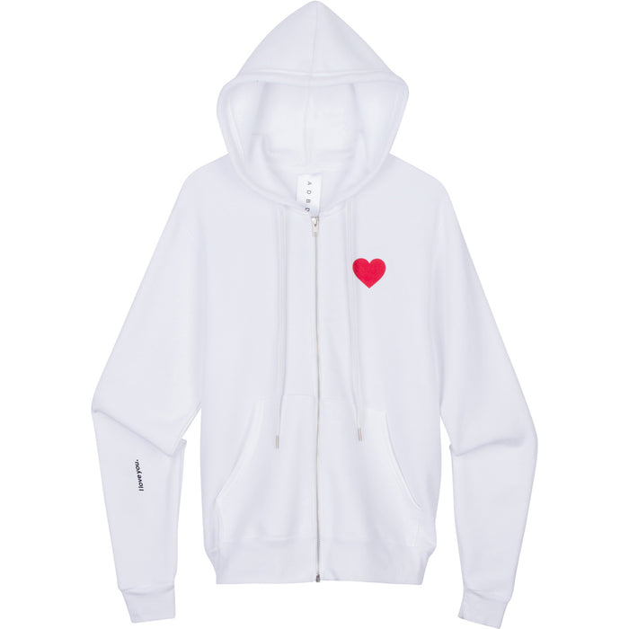 "ADBD ""I love you."" Zip-Up Hoodie (White)"