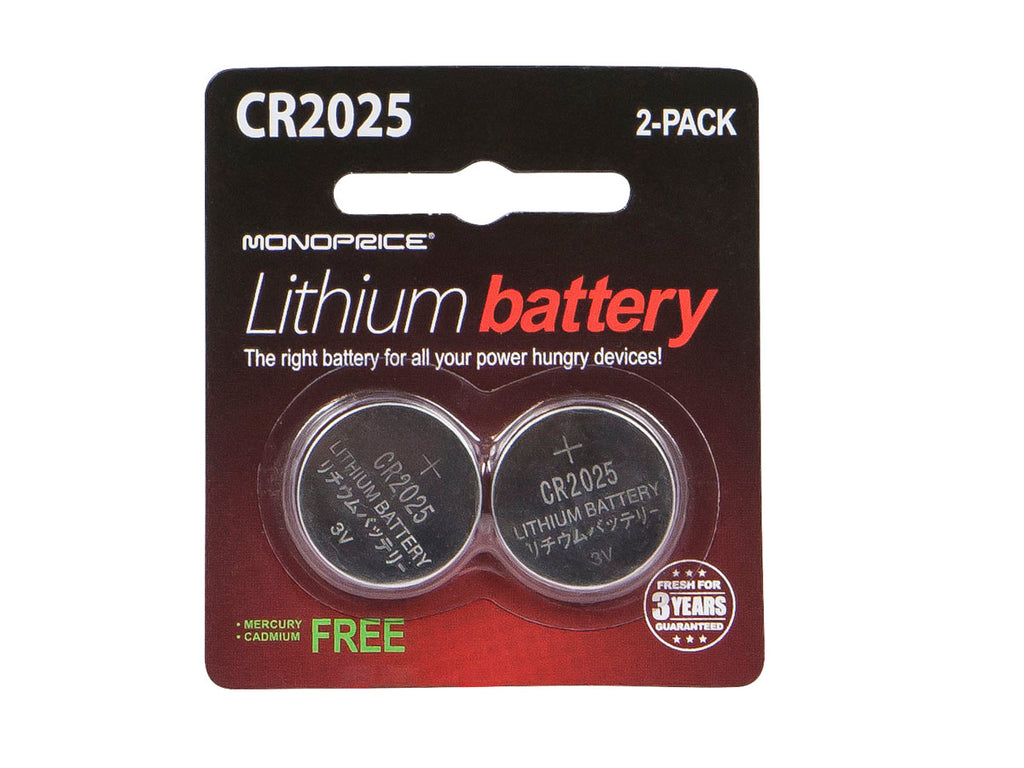 Monoprice Lithium CR2025 3V Battery 2-Pack - SimplyASP Tech