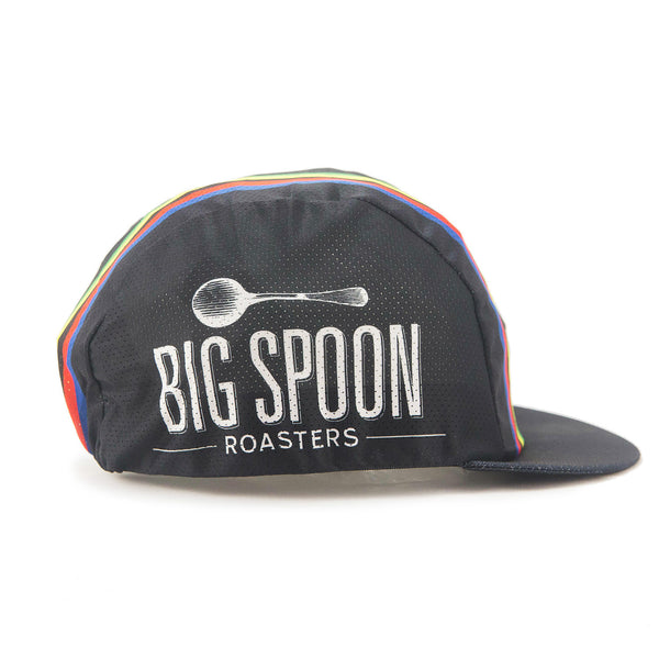 Side view of Big Spoon Roasters classic cycling cap with logo