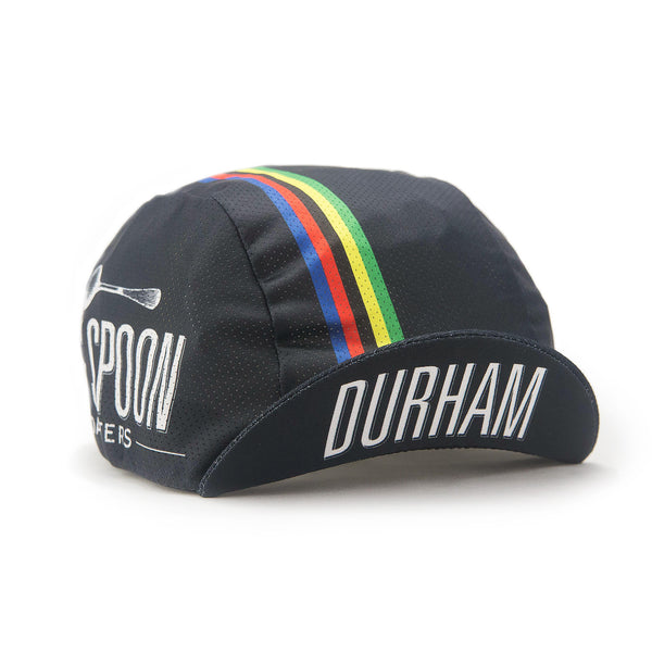 "Side view of Big Spoon Roasters classic cycling cap with ""Durham"" logo"