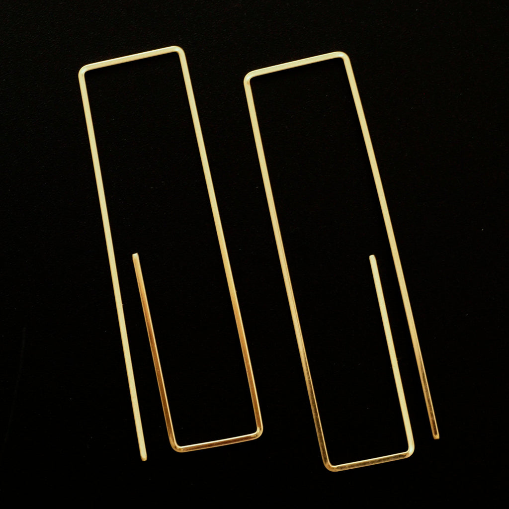 Paper Clip Square Wire Earrings in 15 Metals Including Sterling Silver, 14kt Gold Fill, Titanium, Copper, Brass, Surgical Stainless Steel