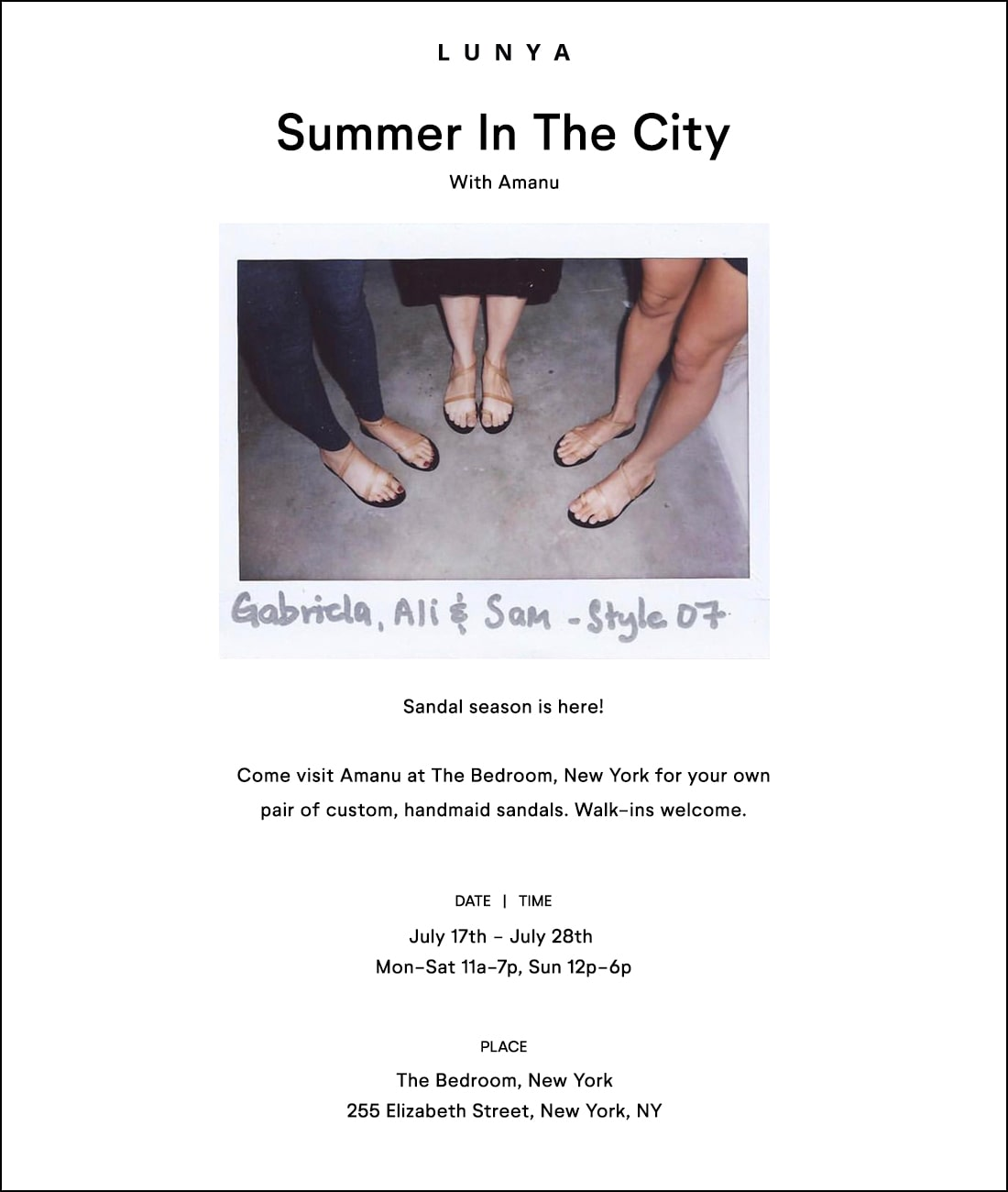 Lunya x Amanu: Summer in the City